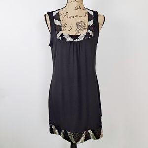 Express Black Dress Sequins Square Neckline Large